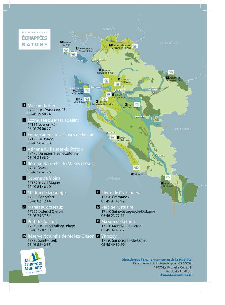 Carte des maisons de sites des Échappées Nature